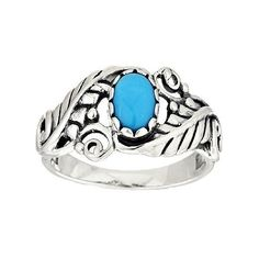 Sleeping Beauty Turquoise Leaf Sterling Silver Ring by American West ($57) ❤ liked on Polyvore featuring jewelry, rings, bohemian jewelry, boho rings, sterling silver turquoise ring, cabochon ring and leaf ring