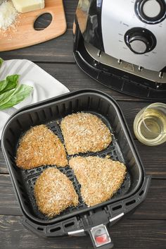 Healthy Chicken Parmesan {Air Fryer   Oven}   The Foodie and The Fix Chicken With Olives, Raw Chicken, Crispy Chicken, Marinara Recipe, Healthy Chicken Parmesan, What Recipe, Cooking With Olive Oil, Kid Friendly Dinner, Italian Seasoning