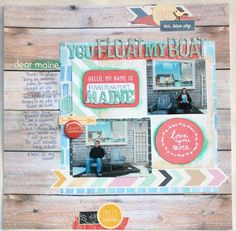 You Float My Boat Scrapbook Supplies, Scrapbooking Layouts, Paper Crafts, Boat, My Favorite Things, Frame, Maine, Pretty, Happy