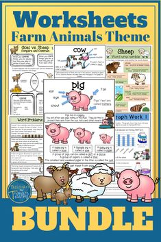 This Bundle is made up of 5 Farm Animal Themed Packs: Pig, Cow, Sheep, Goat and Horse. Each theme pack has a variety of worksheets in from comprehensions, to story writing, parts of speech, graph work, vocabulary building and more. This is great for 2nd and 3rd Grade Farmyard theme. #farmtheme #farmyard #barnyard #farmanimals