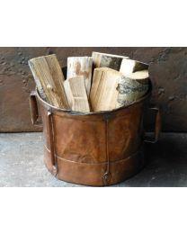 Firewood Holder, Log Holder, Wood Basket, Fireplace Accessories, Copper, Rustic, Stone, Vintage, Cabin
