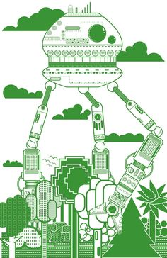 Green Robot in the Forest, the Daily Robot / Miles Donovan on Etsy. Robot Illustration, Digital Illustration, Robots For Kids, Robot Art, Photoshop Illustrator, Art Party, Pictogram, Art Projects, Graphic Art