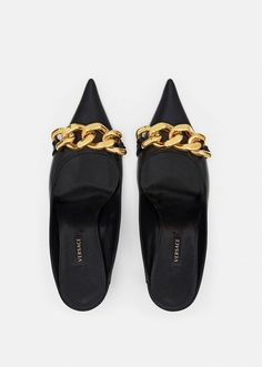Versace Medusa Chain Nappa Leather Mules for Women | US Online Store Pumps, Pump Shoes, Shoes Sandals, Medusa, Leather Mules, Calf Leather, Happy Hour, Versace, Leather Design