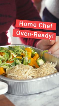 Introducing Home Chef Oven Ready! Get dinner on the table with no prep and no mess. Meals arrive in an oven-safe disposable pan for easy meal planning. Lunch Recipes, Healthy Dinner Recipes, Mexican Food Recipes, Vegetarian Recipes, Cooking Recipes, Healthy Snacks, Healthy Family Dinners, Vegan Dinners, Easy Meals