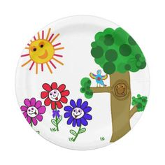 #PaperPlate #ChildrensPlate #Plate Happy Garden Kids 7 Inch Paper Plate. $1.55 each