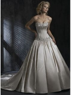 Pearl Appliqued Ball Gown Chaple Train Satin Wedding Dress - Didobridal