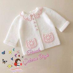 Baby Knitting Patterns, Baby Cardigan Knitting Pattern, Knitted Baby Cardigan, Knitted Baby Clothes, Crochet Jacket, Knitting Designs, Baby Patterns, Free Knitting, Baby Booties Free Pattern