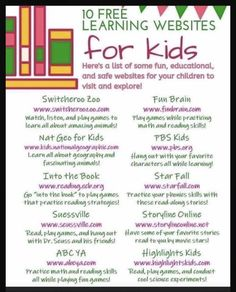10 Free learning websites for kids that are safe & educational! Plus more things to do at Home With Your Kids. Educational tablets and writing pads, kid friendly and fun games, toddler activities and FREE learning websites and resources! Home Learning, Preschool Learning, Learning Resources, Fun Learning, Teaching Kids, Learning Sites, Preschool Ideas, Preschool Schedule, Learning Tools