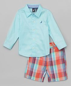 Look what I found on #zulily! Nautica Hydro Button-Up & Orange Plaid Shorts - Infant, Toddler & Boys by Nautica #zulilyfinds