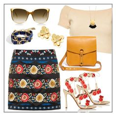 """""""Summer #39 - """"Embroidered A-Line Skirt"""""""" by sammers-i ❤ liked on Polyvore featuring Topshop, Alice + Olivia, Tabitha Simmons, Madewell, BCBGMAXAZRIA and Kate Spade"""