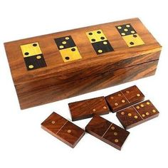 Father's Day Gift Idea - Handmade Wooden Domino Set - Domino Set with 28 bones. Made from Indian Rosewood, a sustainably sourced wood from India. Gold brass inlays complete the elegant look. Measures 8 inches x 3 inches x 2 inches. What a great gift idea for only  $34.95!