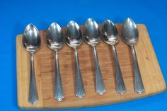6 Pc Vintage Tablespoons Dinner Art Deco Diamond DS Stainless Steel Flatware USA #DS