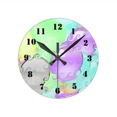 Strange abstract pattern with bright colors wall clock