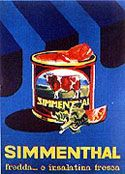 1963 Armando Testa manifesto per la carne in scatola Simmental