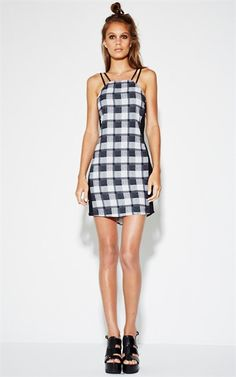 Nzsale - Printblack Clean Check Strappy Dress