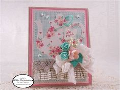 Created using Beautiful Little Wishes Sweet Cuts, Little Wishes, Tea For Two Sweet Cuts, Party Time Sweet Cuts, Marshmallow Sequins and Frosting Seam Binding - www.papersweeties.com!  Designed by Debbie Marcinkiewicz.