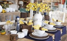 Bianco dinner plates match perfectly with Rattan and a splash of yellow