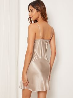 To find out about the Contrast Lace Satin Cami Dress at SHEIN, part of our latest Night Dresses ready to shop online today! Satin Cami Dress, Satin Nightie, Satin Lingerie, Pretty Lingerie, Satin Dresses, Dress P, Women Lingerie, Sexy Lingerie, Satin Blouses