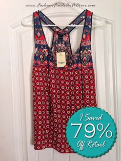 Lucky Brand Printed Keyhole Tank -  August Find #5