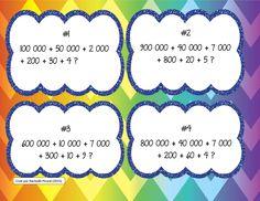 Cartes à tâches - Nombres décomposés  Créé par Rachelle Picard (2015) Math 5, Math Games, Teaching Math, Cycle 3, Montessori Math, 3rd Grade Math, Place Values, Task Cards, Classroom