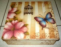 Caja                                                                                                                                                                                 Más Decoupage Box, Decoupage Vintage, Tole Painting, Fabric Painting, Stencil Art, Stencils, Painted Boxes, Wooden Boxes, Easy Crafts