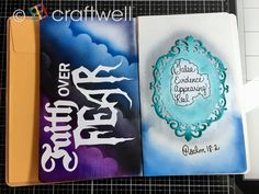 A blog about crafting, scrapbooking, embossing, airbrushing, DIY home decor, creativity and much more! Cloud Shapes, Ranger Ink, Faith Over Fear, Spectrum Noir, Air Brush Painting, All Is Well, Tombow, First Art, Art Journal Pages
