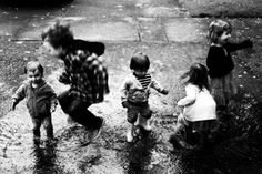 """Perfect wet weather activity especially in """"Raincouver"""". Though not all children are keen to play in puddles, the combination of movement, sound and shadows cast on the rippling water offers a great sensorial experience for the children who do."""