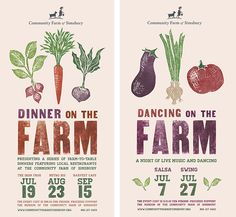 Event posters for the Community Farm of Simsbury (CT), using wood type and linocut images. Student work, selected for production.