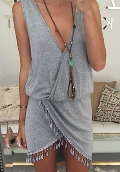 Grey Plain Tassel Hem Asymmetrical Tulip Waist Apron Front Bodycon Wrap V-neck Sleeveless Mini Dress
