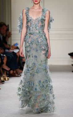 Embroidered Botanical Tulle Gown by MARCHESA SS16 (=)