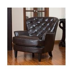 Large-Club-Chair-Leather-Brown-Office-Family-Old-World-Rich-Living-Modern-Den