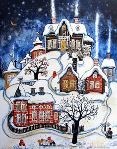 Я знаю, за что поклониться зиме.... Художник Marit Bjornegran. Обсуждение на LiveInternet - Российский Сервис Онлайн-Дневников Christmas Scenes, Christmas Art, Art And Illustration, Winter Art, Naive Art, Whimsical Art, Vintage Postcards, Art Pictures, Home Art