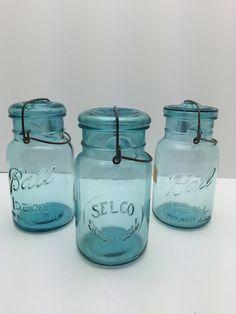 Vintage blau Canning Gläser Ball Ideal Gläser von GirlGoesVintage