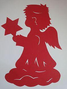 Fensterbilder Tonkarton filigran Engel mit Stern rot