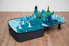 Portable City, A Sculpture Series of Miniature Cities in Suitcases