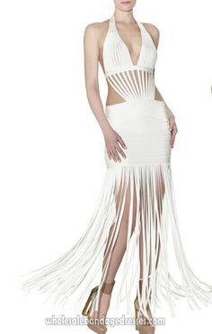 b78fe1063 Herve Leger On Sale Gown Bandage Dress Evening Party Dresses White Tassels  Halter V Neck Backless