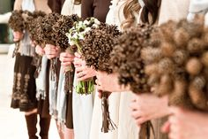 pinecone bouquets for a winter wedding...interesting