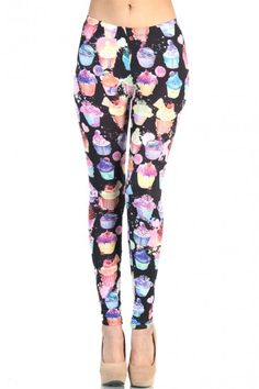 LoveMelrose.com From Harry & Molly | Cupcake Party Leggings - Purple / Black