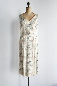 1960s Silk Printed Bugle Beaded Dress - S
