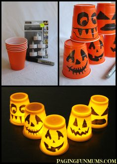 Cup Decorations Easy Halloween Decorations - these are so simple to make and look great day or night :).Easy Halloween Decorations - these are so simple to make and look great day or night :). Diy Deco Halloween, Halloween Cups, Soirée Halloween, Adornos Halloween, Manualidades Halloween, Halloween Birthday, Holidays Halloween, Halloween Treats, Halloween Lanterns
