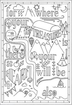 "Instant Download Colouring In Bible Verse | Matthew 6:21 ""For Where your…"