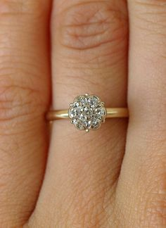 Edwardian Diamond Scalloped Flower Engagement Ring c.1920s in 14k White and Yellow Gold Engagement Ring, Promise Ring via Etsy