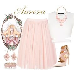 Aurora by violetvd on Polyvore featuring BCBGMAXAZRIA, Ted Baker, Oasis, Kendra Scott, H&M and Disney