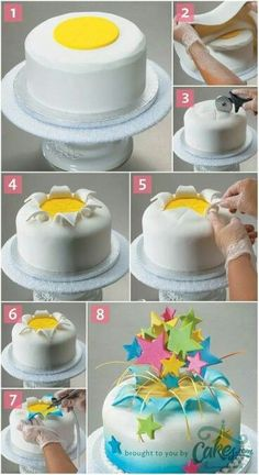 Different sized stars arrangement in exploding cake