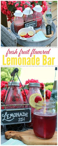 Fresh fruit syrups let you customize your lemonade for the perfect blend!  Such a fun summer idea!