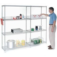 "74"" H Nexel Chrome Wire Shelving - 72"" W X 21"" D by GLOBAL INDUSTRIAL NY. $216.95. Nexel Chrome Wire Shelving Starter Unit Designed for Years of Heavy Duty Service Includes 4 posts with leveling feet, 4 shelves and snap-on sleeves to secure shelves to posts - everything needed to build unit shown. Electroplated nickel-chrome is durable, chip resistant and attractive for use in retail display. Customize your shelving with additional accessories ."
