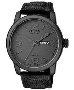 Citizen Men's Eco-Drive Black Nylon Strap Watch 39mm BM8475-00F  Vegan gifts for him for guys for men father's day boyfriend brother vegangifts vegan gifts giftsforvegans giftforvegans #vegangifts #giftsforvegans