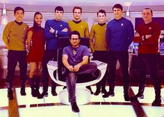 JJ Abrams and the cast of Star Trek. There's Spock, looking very Spock-y.