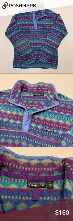 e589fb6b05 Vintage Patagonia Snap T Fleece Made In USA VTG Patagonia Snap Tee Fleece  Pullover Aztec Tribal
