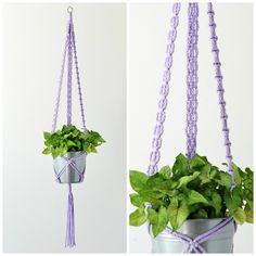 Macrame Plant Hanger // Lavender Hanging Planter // Long Plant Hangers // Purple Hanging Pot Holders // #1 Lavender // READY TO SHIP by TheVintageLoop on Etsy